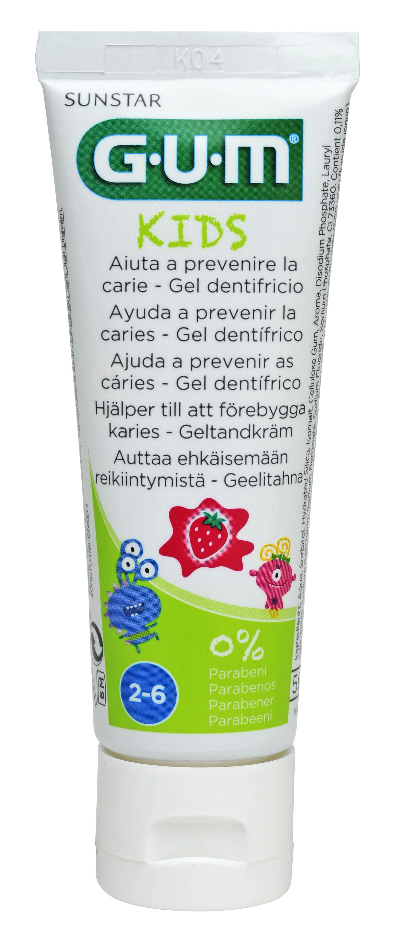 GUM Kids, tandpasta, 2-6 år, jordbær, 50 ml