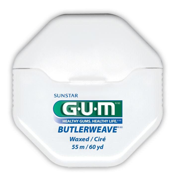GUM Butlerweave, tandtråd, m/voks, 55 m